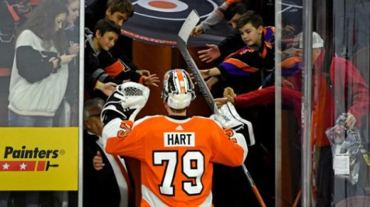 Carter Hart leaving ice after game