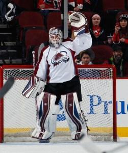 Former NHL goaltender J.S. Giguere sporting the reduced leg pads in the 2013-14 NHL season
