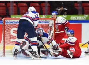 Alex Nedeljkovic playing in a 7-0 win against the Czech Republic in the 2016 IIHF World Junior Championships