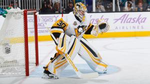 Two-time Stanley Cup Champion Pittsburgh Penguins goaltender Matt Murray displays perfect glove and blocker positioning