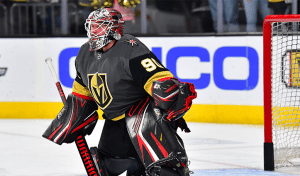 Robin Lehner, still sporting his Blackhawks colors in a game for the Golden Knights