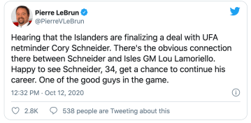 TSN's Pierre LeBrun tweeted speculating that Cory Schneider and the New York Islanders are close to a deal