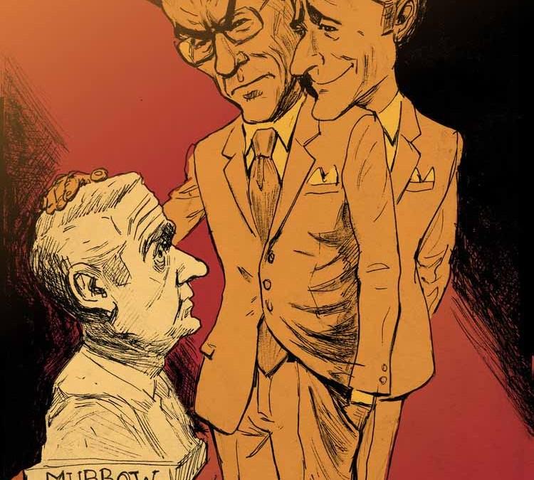 John Stewart and Stephen Colbert Contemplating a Bust of Murrow Illustration