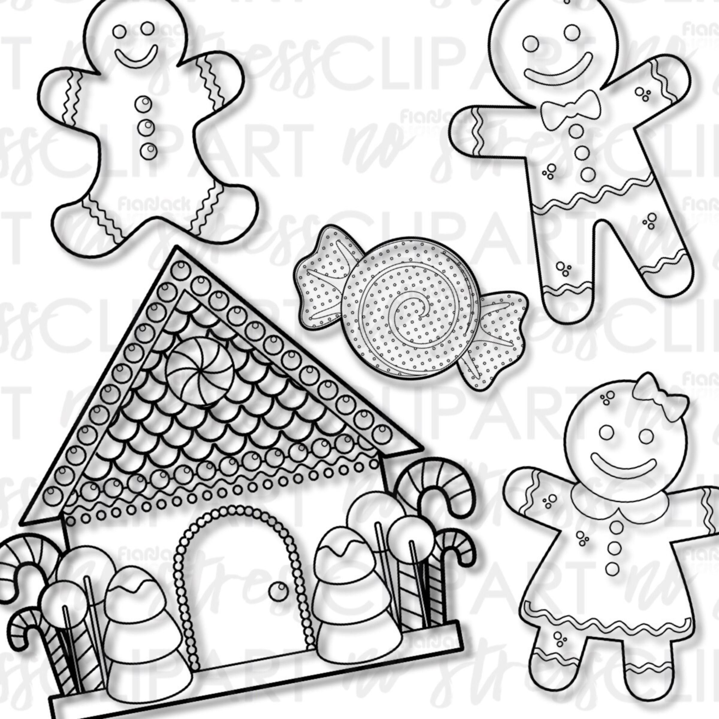 Gingerbread Cookies And House Clip Art