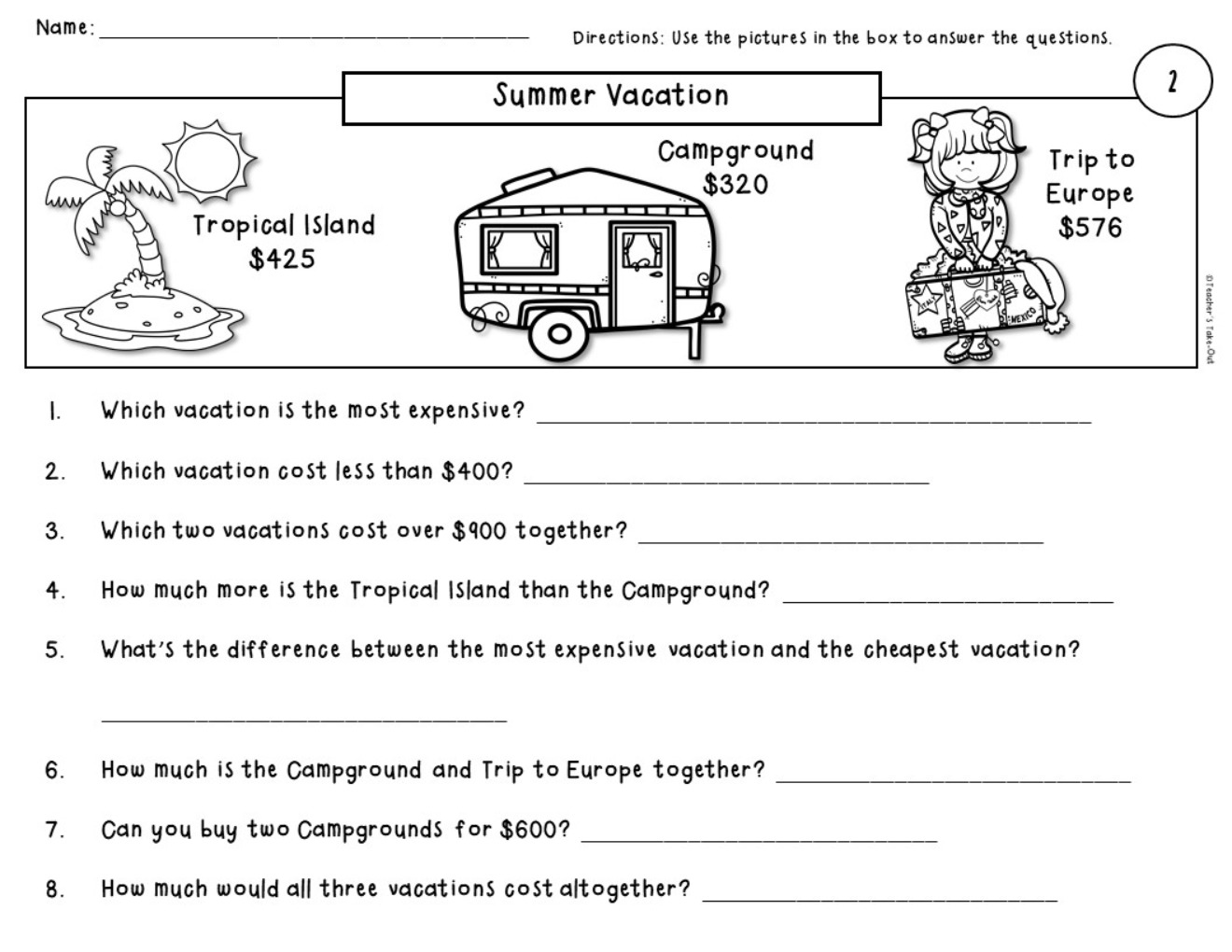 Word Problem Worksheets Using Money