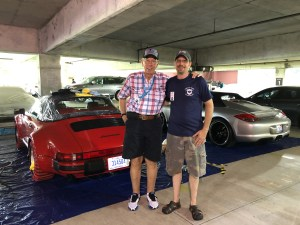 Michael and Howard Gilson in Concours preparation area