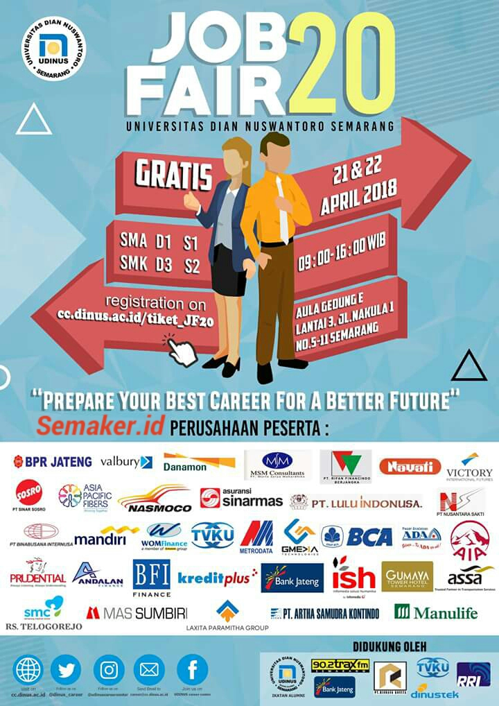 BURSA KERJA – JOB FAIR UDINUS 20 SEMARANG (GRATIS) 21 & 22 APRIL 2018
