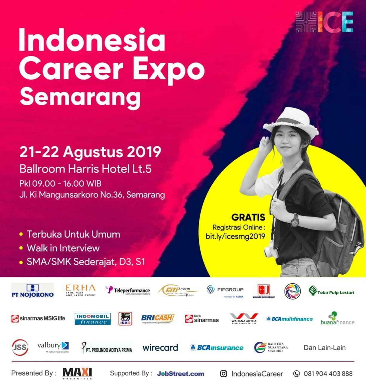 JOB FAIR INDONESIA CAREER EXPO SEMARANG 21-22 AGUSTUS 2019