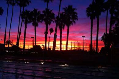 A beautiful sunrise from Santa Barbara Swim Club's headquarters at Los Baños Pool.