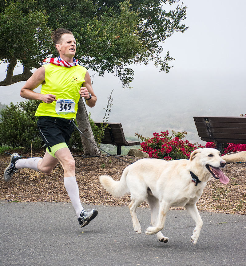 Geoffrey Gray and his pooch won the dog race