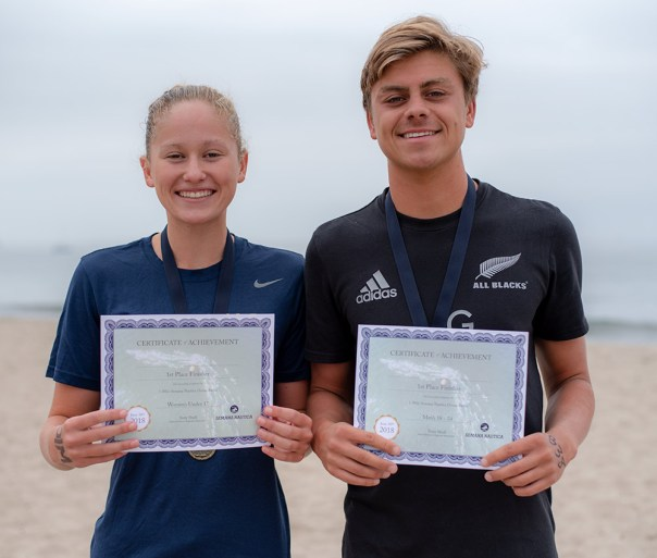 Swimmers Andrea Bish and Miles Gaitan