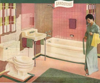 1954 briggs sandstone and pink bathroom