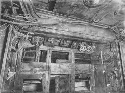 U Boat alemán 1918. tercer compartimento. Armarios de la tripulación