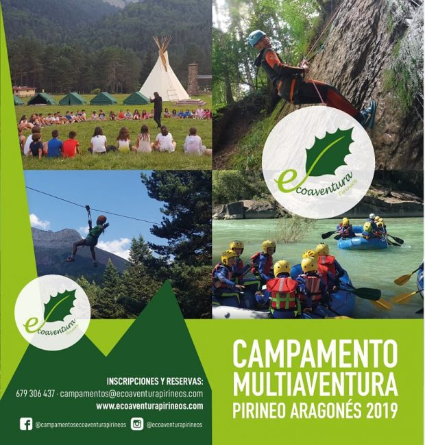 Cartel campamento ecoaventura pirineos
