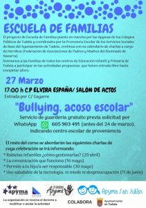 Cartel charla marzo tudela Escuela Familias