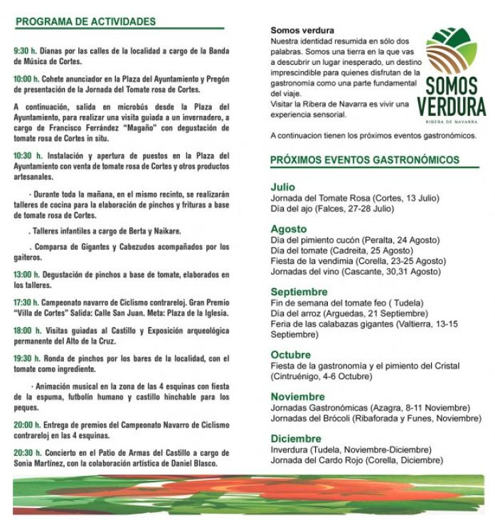Programa Jornada Tomate rosa de Cortes