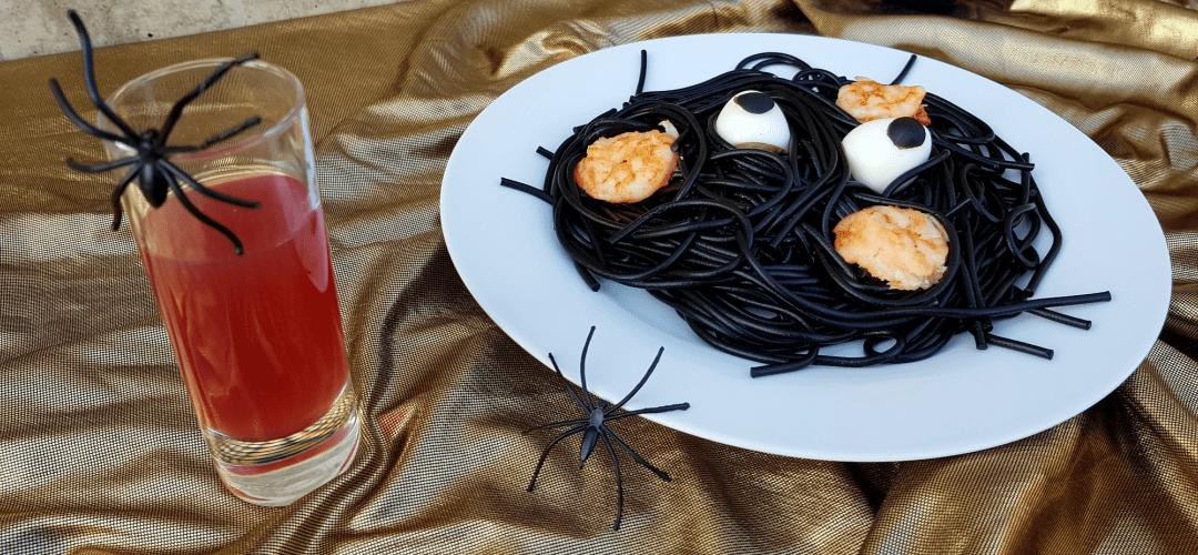 Espaguetis negros gambas halloween
