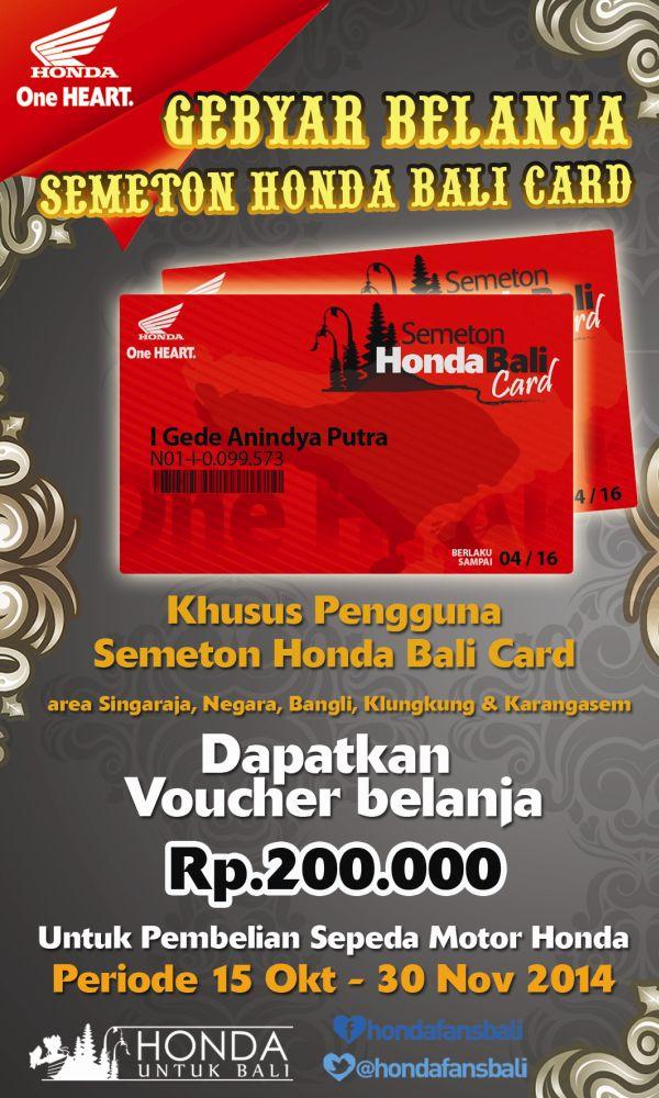 Gebyar Belanja Semeton Honda Bali Card