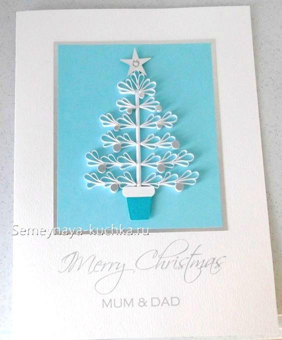 درخت کریسمس در کارت پستال