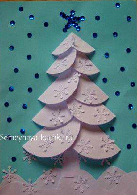 درخت سال جدید کاغذ با دستان خود