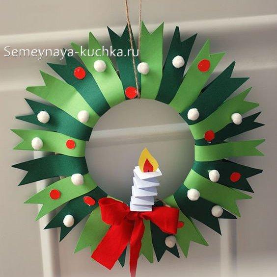 Coroană de Crăciun de hârtie