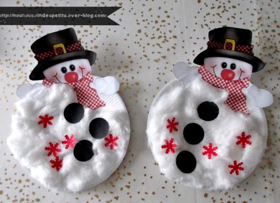 снеговик из бумаги и ваты для детей в детском саду
