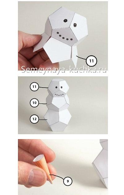 схема сборки снеговика из бумаги