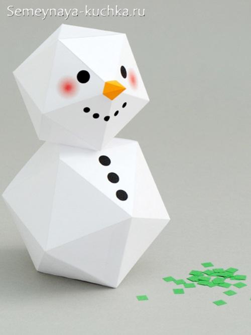 снеговик из бумаги сделать самим