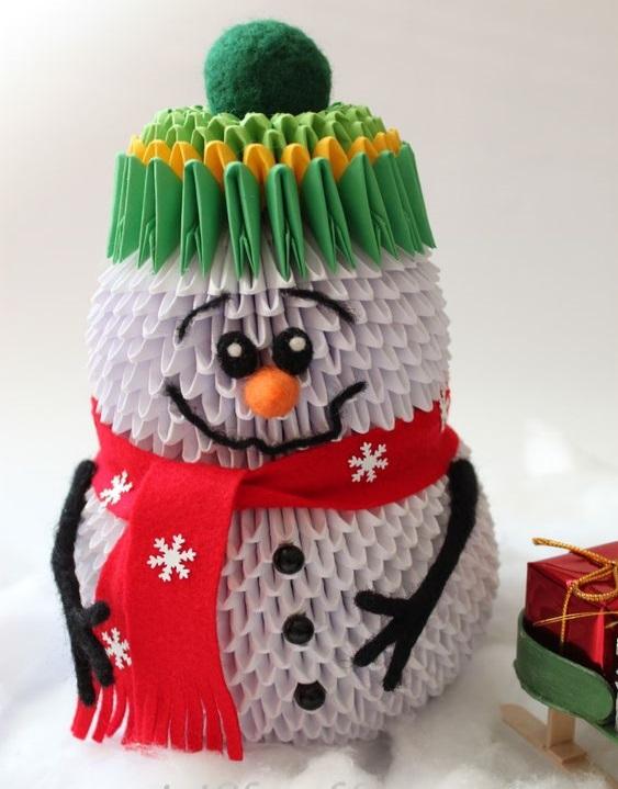 бумажный снеговик из модульного оригами