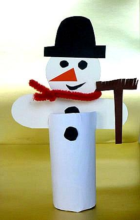 поделка бумажный снеговик из рулончиков