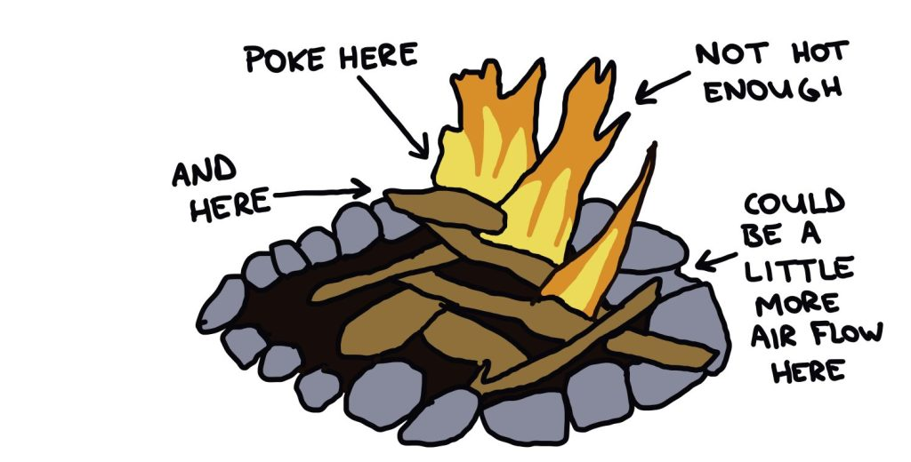 drawing of campfire that needs adjusting