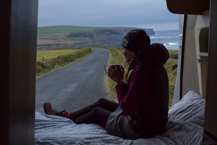 girl + coffee + van + scenic backdrop = Instagram gold on Loop Head, County Clare