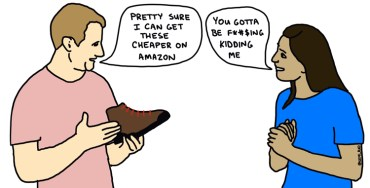 illustration of man telling retail employee he can get a hiking boot cheaper on Amazon