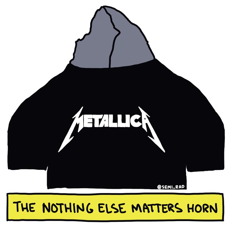 drawing of the matterhorn wearing a metallica t shirt