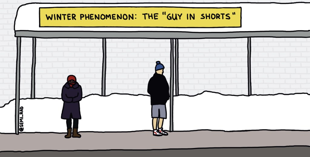 drawing of a guy wearing shorts at a snowy bus stop