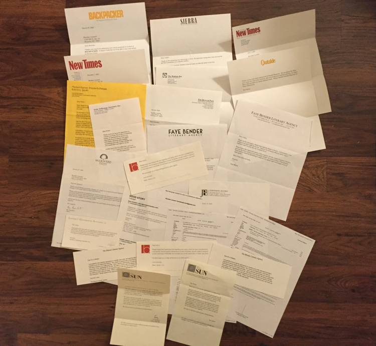 photo of rejection letters from magazines