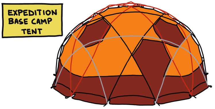 drawing of an expedition base camp tent