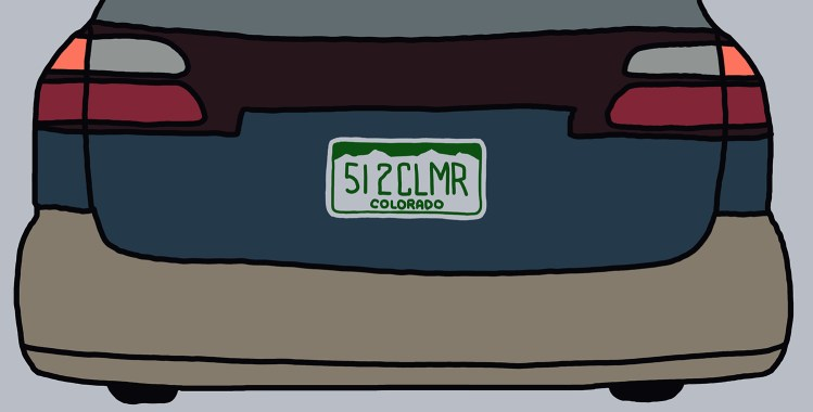 "drawing of a car with a license plate reading ""512CLMR"""