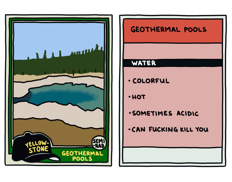 drawing of a yellowstone geothermal pool that can kill you