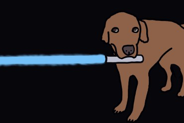 drawing of a dog holding a lightsaber