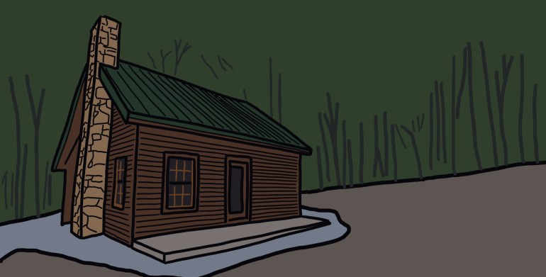 drawing of a cabin in the woods