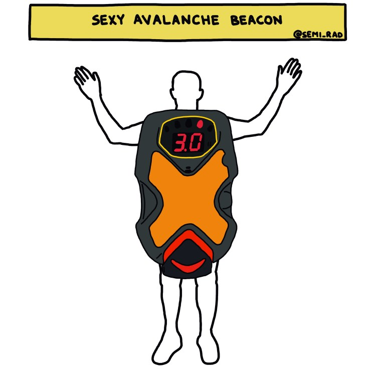 "drawing of ""Sexy Avalanche Beacon"" costume"