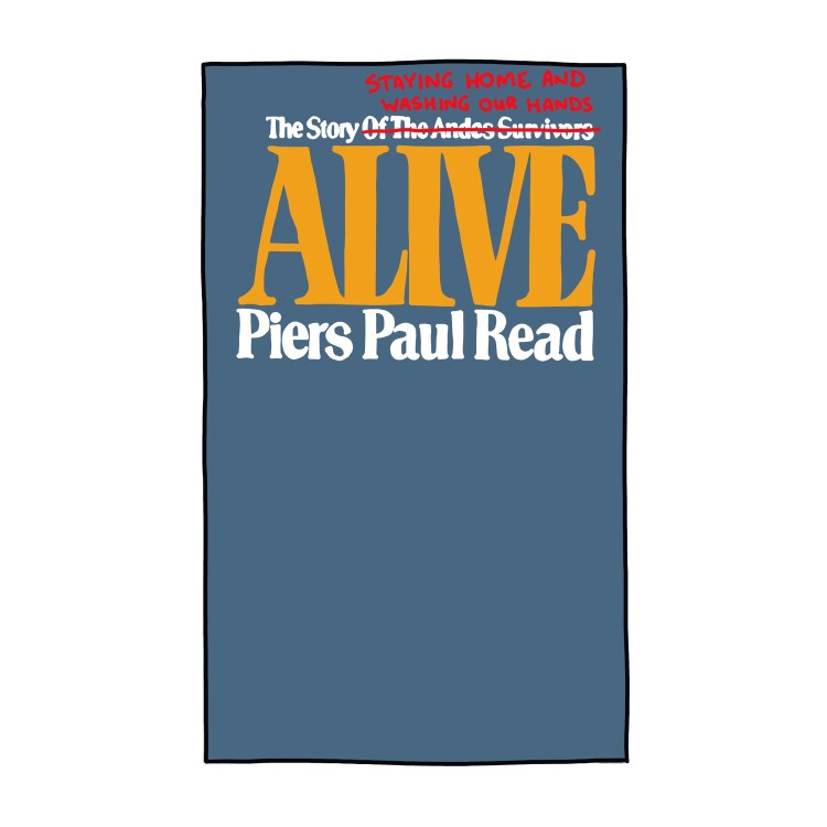 hand-drawn edited cover of Alive by Piers Paul Read