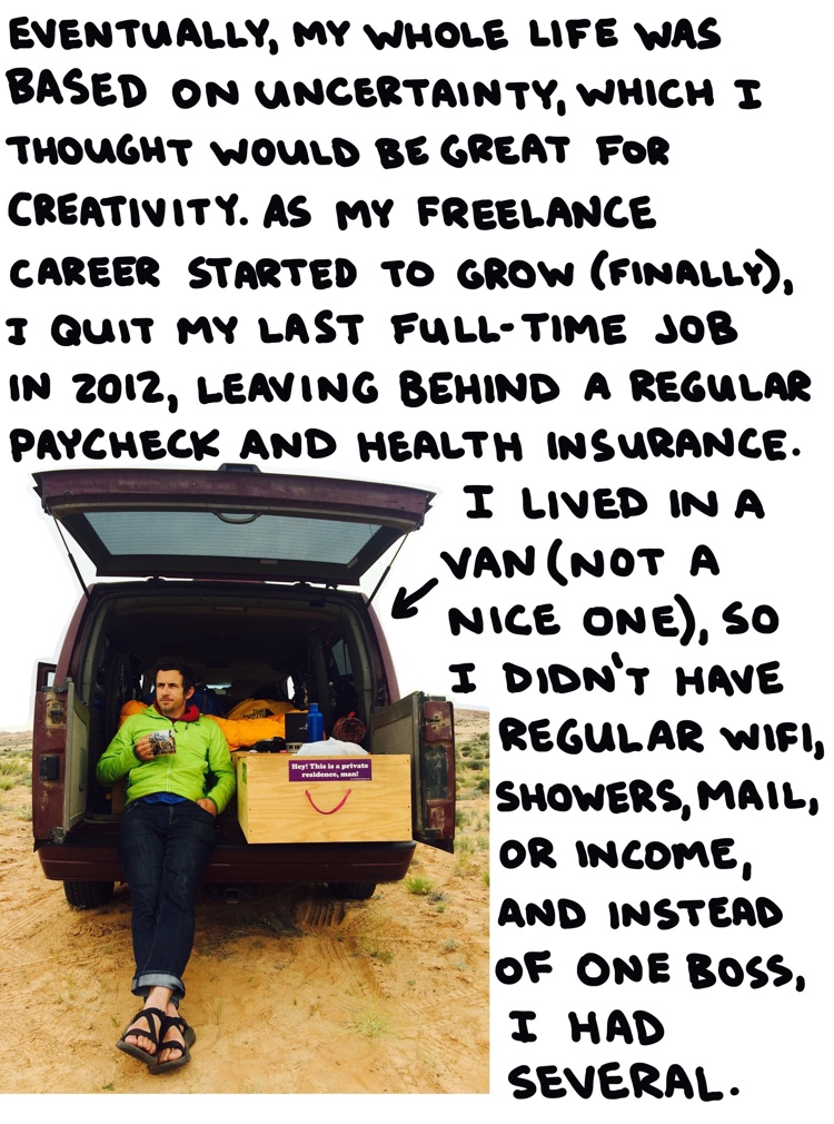 photo of brendan leonard in a van with handwritten text