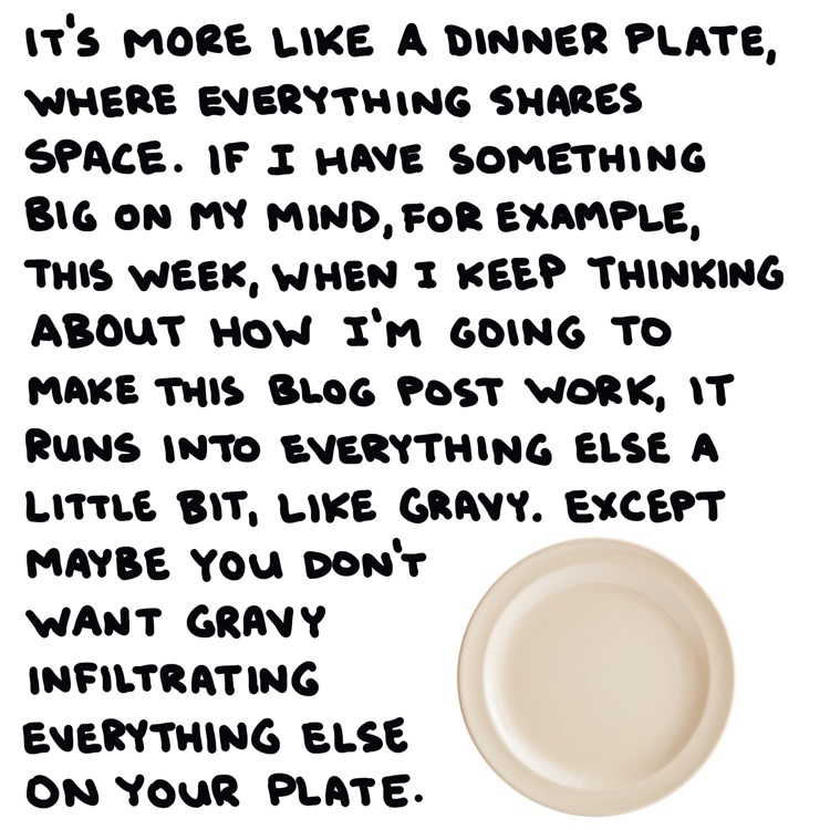 handwritten text and dinner plate