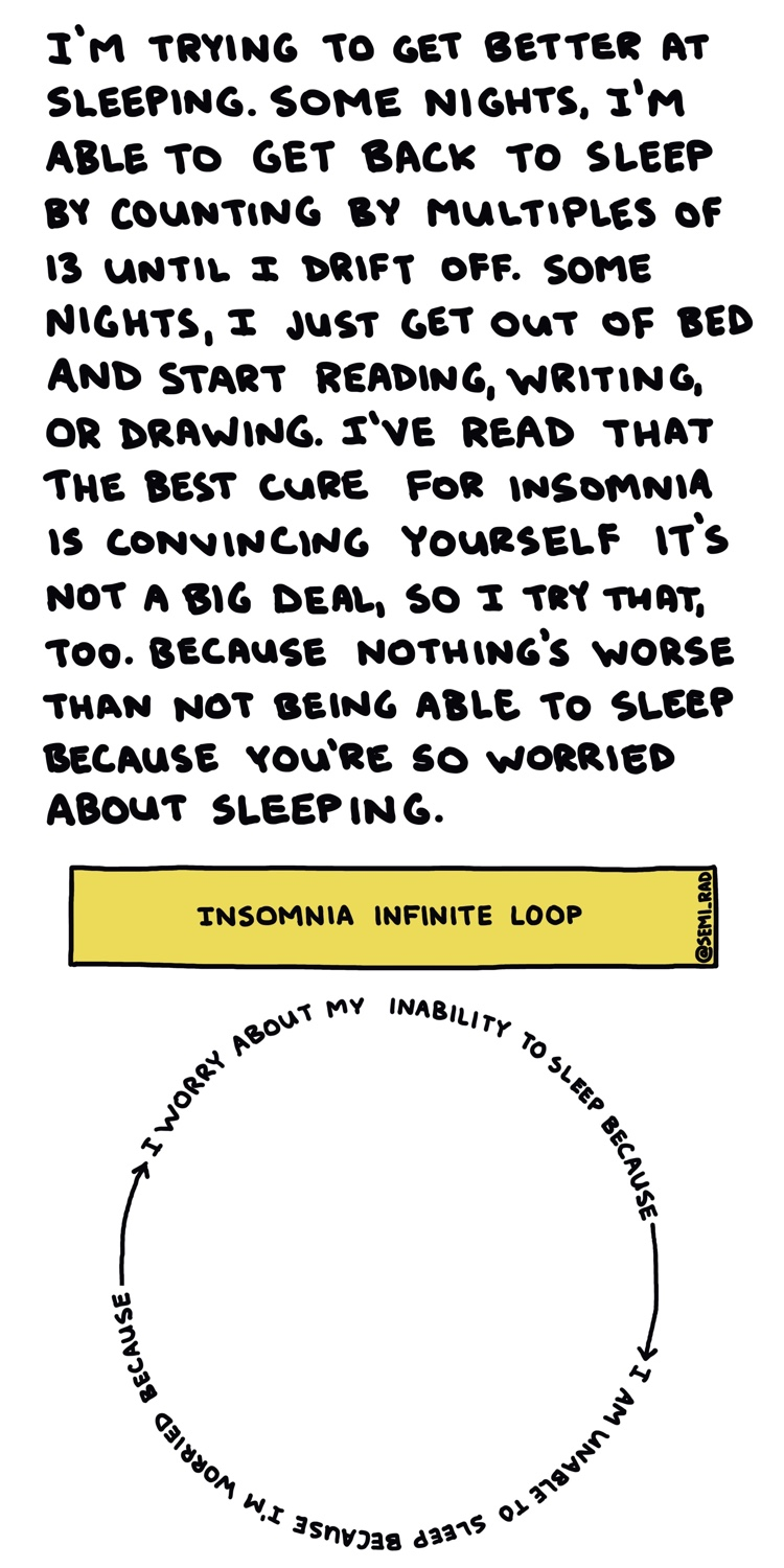 handwritten text and chart showing insomnia infinite loop