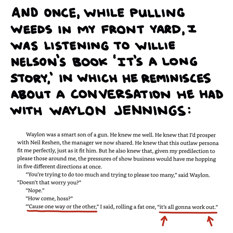 "excerpt from Willie Nelson's book ""It's a Long Story"" and handwritten text"
