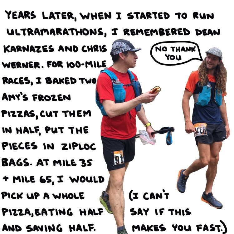 photo and text about my strategy for eating pizza during ultramarathons