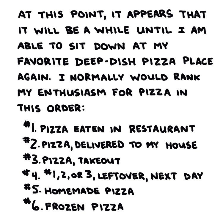 handwritten list of my preferences for ideal pizza-eating situations