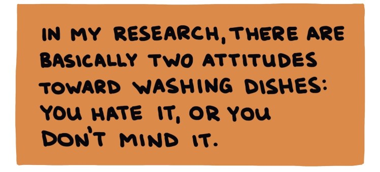 Handwritten text about attitudes toward washing dishes